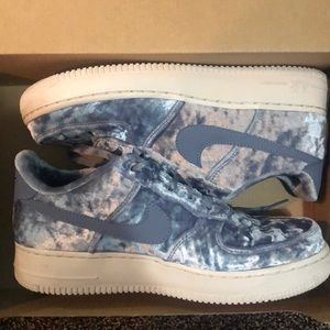 Dark sky blue crushed velvet Air Force 1